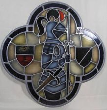 BEVELED STAIN GLASS SHIELD | Vintage Stained Glass Window Knight in Armor w Spear & Shields