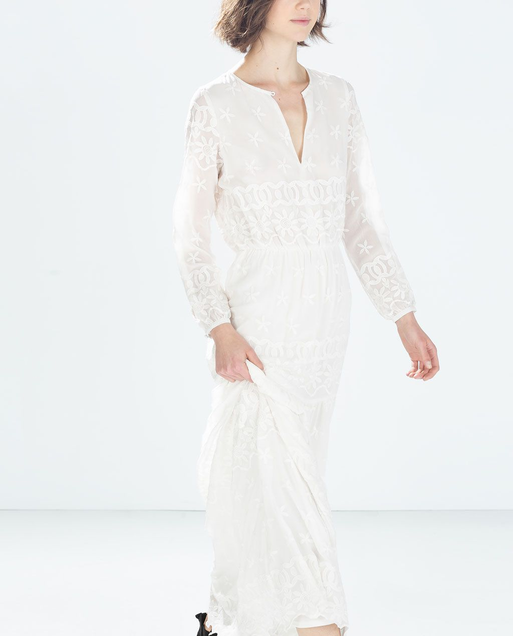 White dress at zara - Long Embroidered Dress From Zara