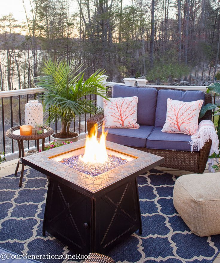 Deck Decorating Ideas: Blue Lakeside Deck Living Space Reveal