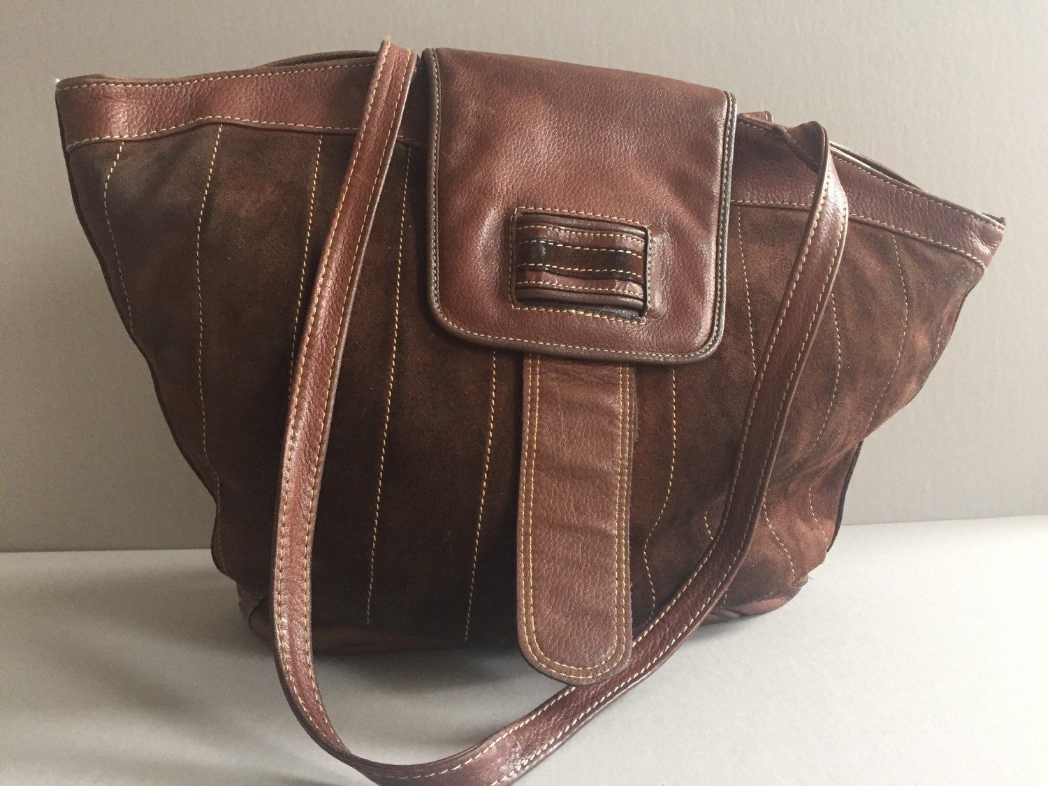 3bd22e1405 CHARLES KLEIN Suede Leather Handbag Chocolate Brown Made in Italy Vintage  Bag by BROCANTEBedStuy on Etsy
