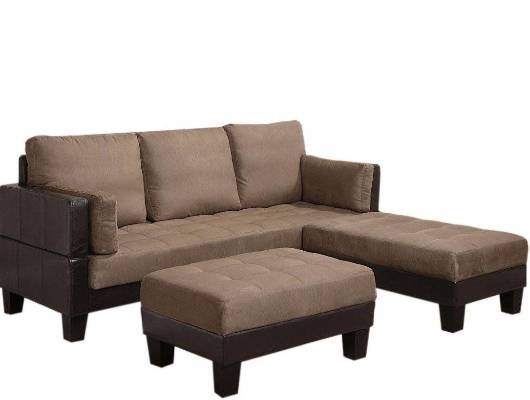 Comfortable Sofa Bed 2 Ottomans Spring Base Foam Seat Hardwood Frame Dark Brown