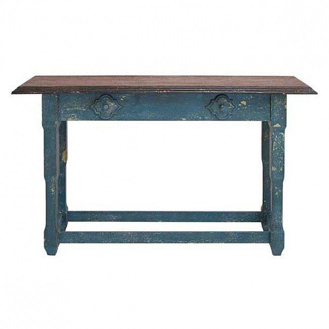 59 Quot Organic Inspired Distressed Blue Finish Wood Console Table With Applied Quatrefoil De Antique Console Table Rustic Console Tables Wooden Console Table