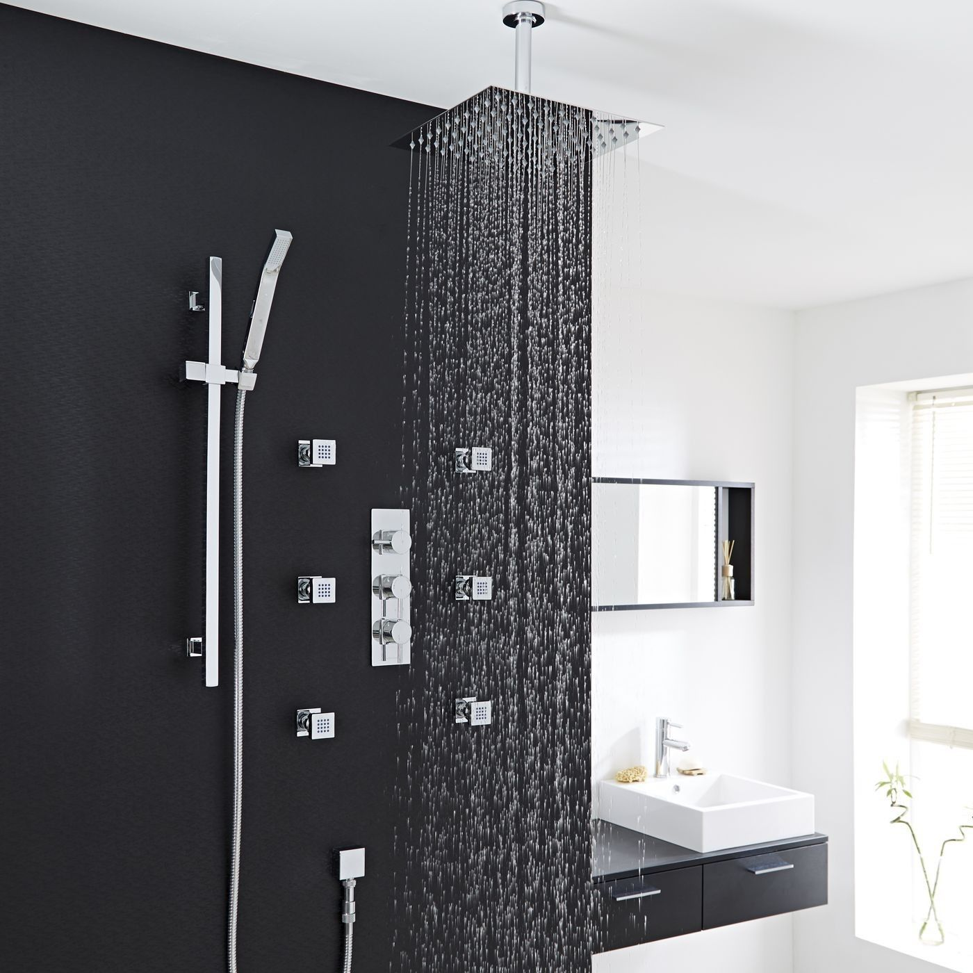 Quest Thermostatic Shower System with 12 Square Head Ceiling Arm