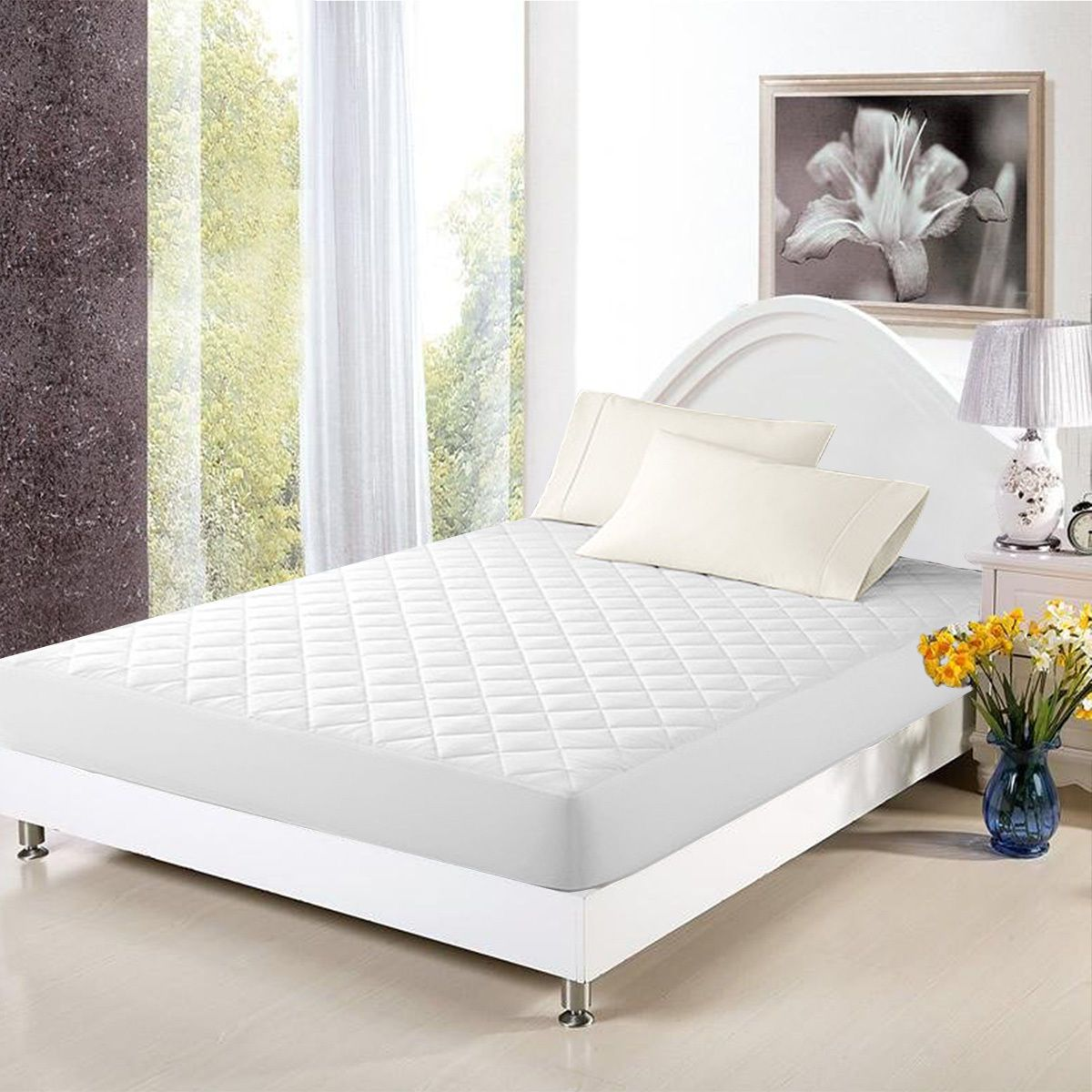 Mattresses why not hanging on the balcony garden compact seating - Mattress Cover Bed Topper Bug Dust Mite Waterproof Pad Protector Quilted 5 Size