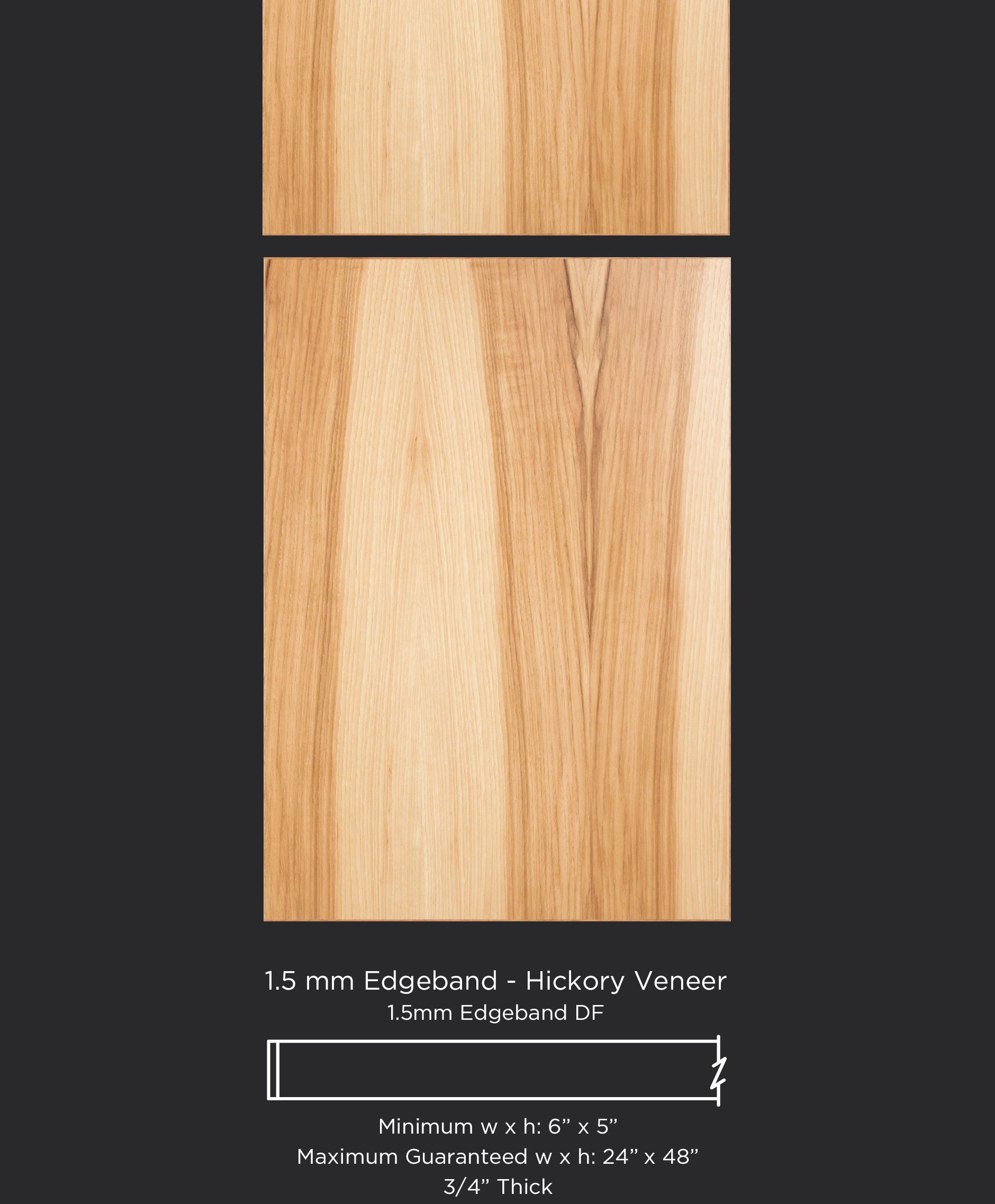 Modern Hickory Edge Banded Cabinet Door And Drawer Front By