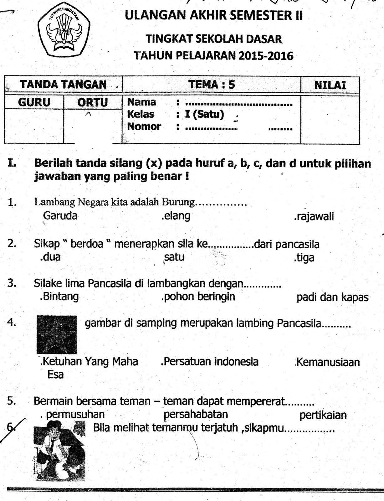 Soal Uts Tema 5 Subtema 4 Kelas 1 Sd