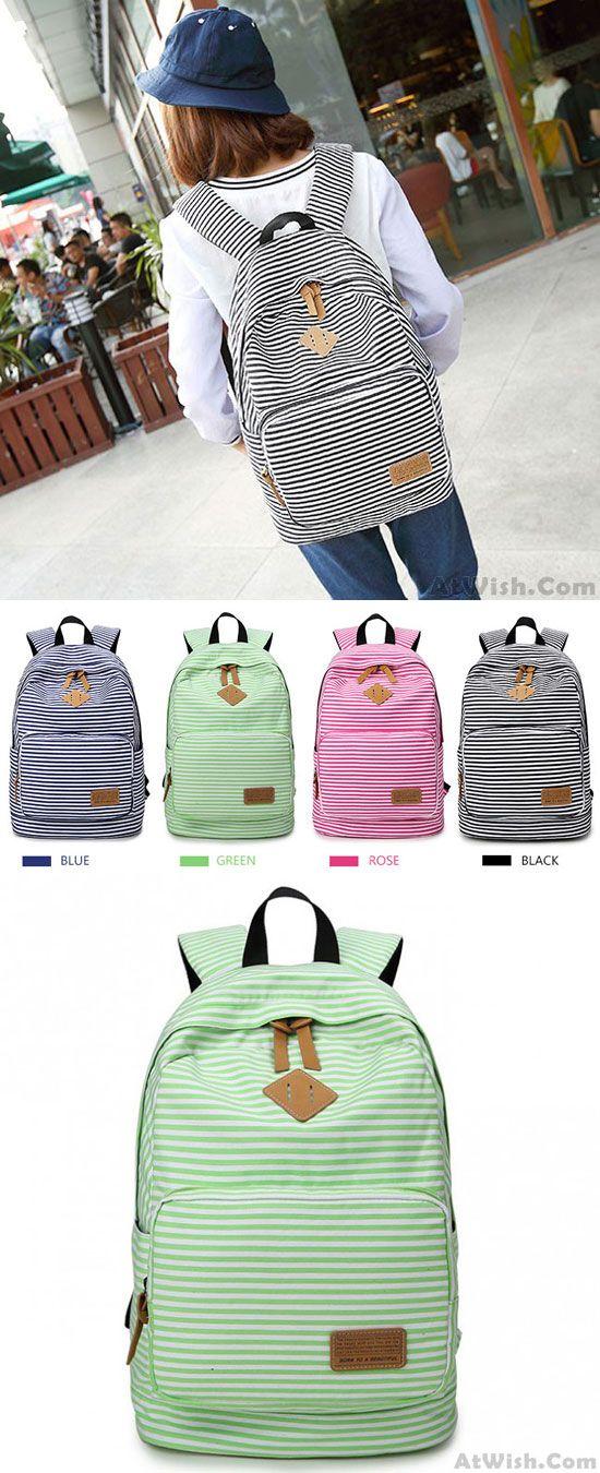 Summer Blue Striped Leisure Canvas College Backpack  striped  leisure   school  college  student  backpack  Bag  rucksack  travel  camping  girl   fashion   ... 0d0b6196ca674