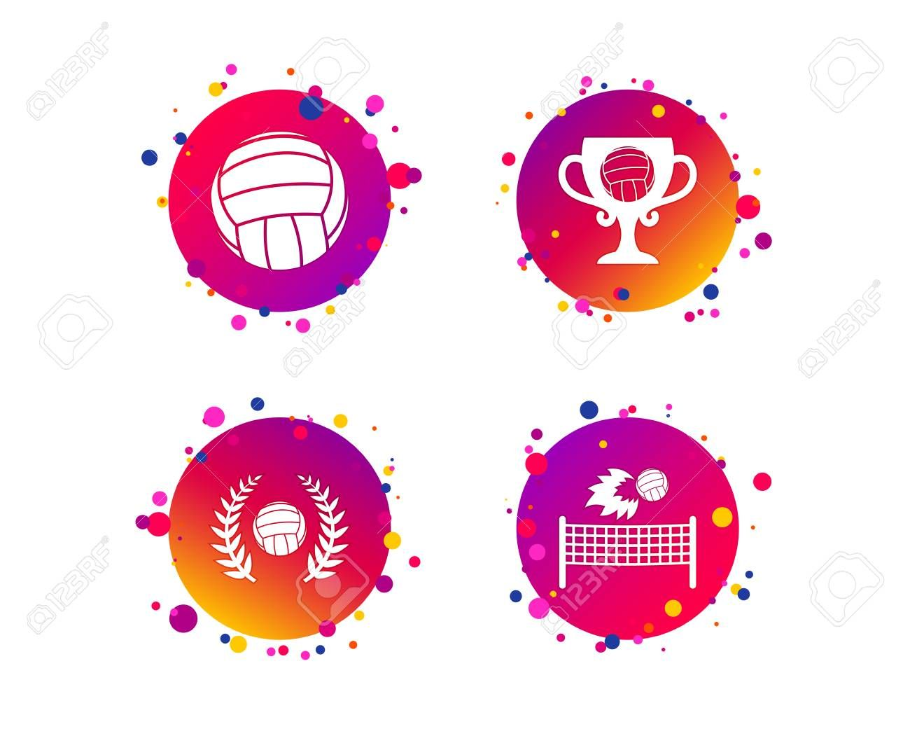 Volleyball And Net Icons Winner Award Cup And Laurel Wreath Symbols Beach Sport Symbol Gradient Circle Buttons Dots Design Wedding Card Design Laurel Wreath