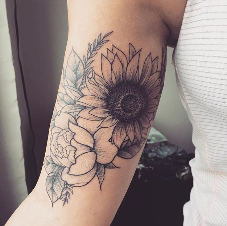 Large Sunflower And Rose Black And White Line Work Tattoo Tattoos