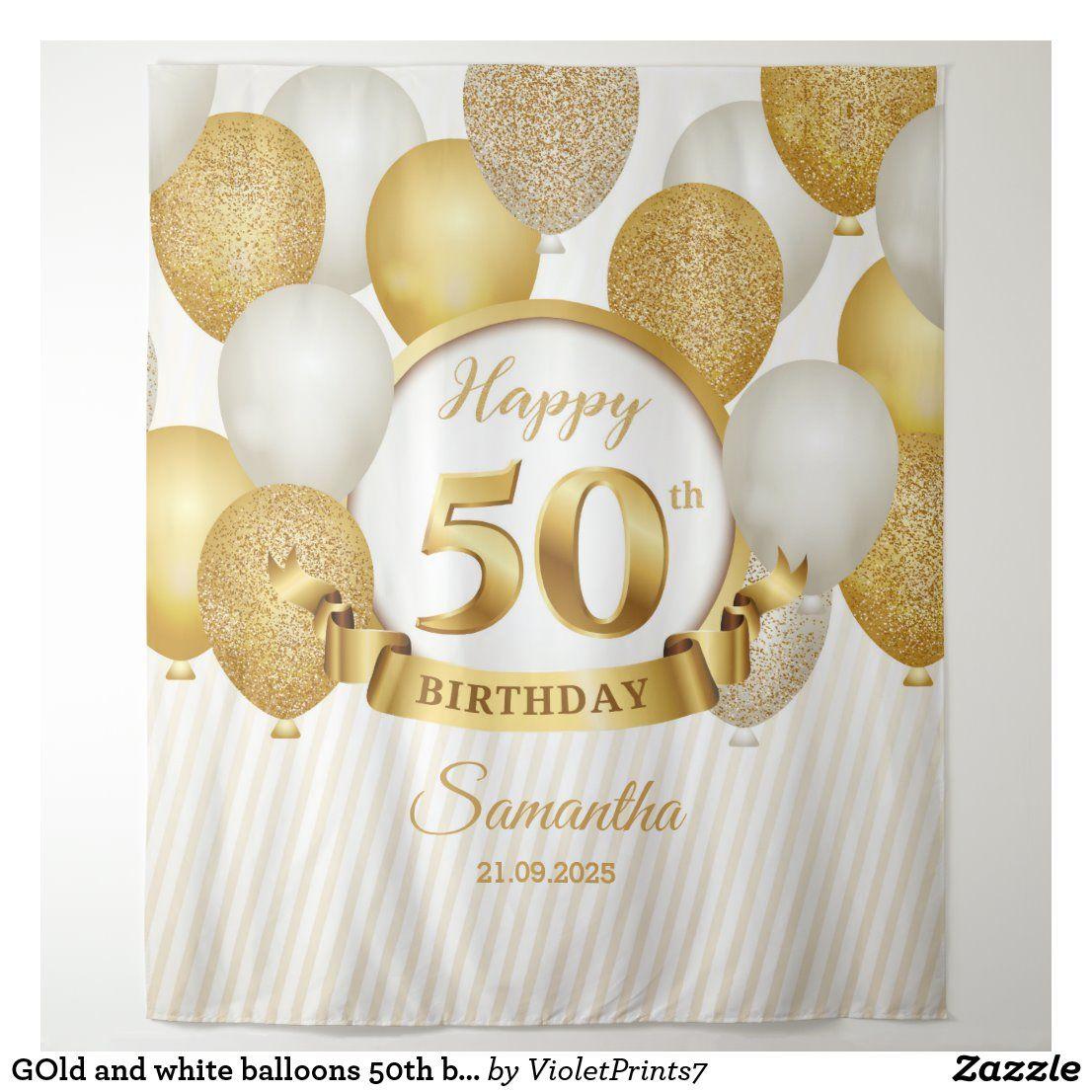Gold And White Balloons 50th Birthday Backdrop Zazzle Com In 2021 50th Birthday Balloons Birthday Backdrop White Balloons