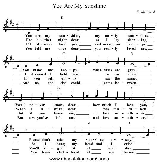 You Are My Sunshine Sheet Music Johnny Cash