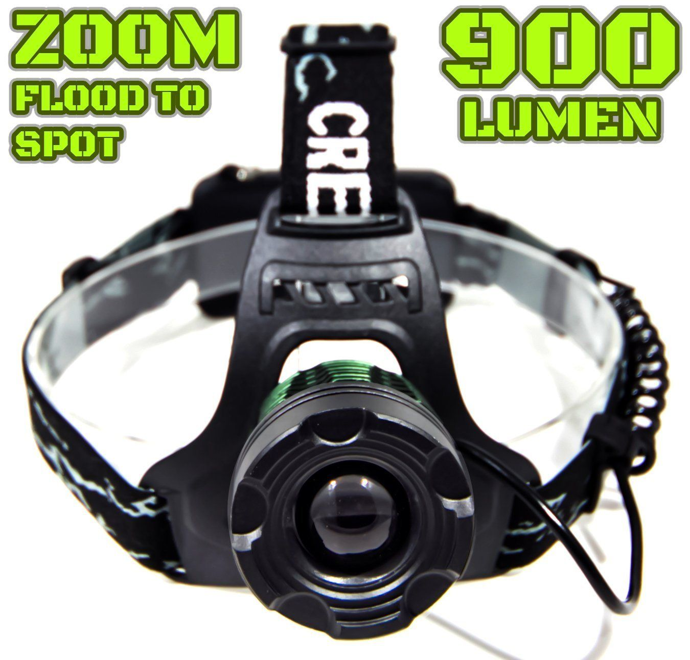 900 LUMEN Head Lamp   Water Proof   RECHARGEABLE   ZOOMABLE Floodlight to Spotlight   X-Lamp XM-L2 CREE LED (20% Brighter Than T6 LED)   BATTERIES NOT INCLUDED (BLK ZOOM) * Startling review available here  : Camping gear