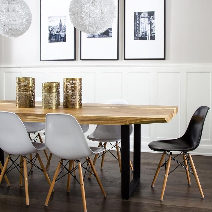 Well Appointed Modern Dining Room Boasts A Live Edge Dining Table