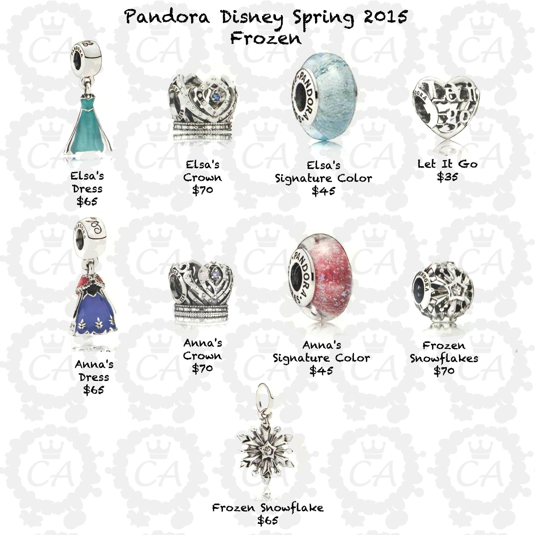 Pandora Disney Spring 2017 Frozen Prices Charms