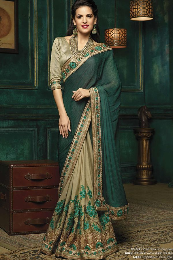 09f4044ed344 Seaweed & Crocodile Green Satin & Crepe Silk Saree | Designer Indian ...