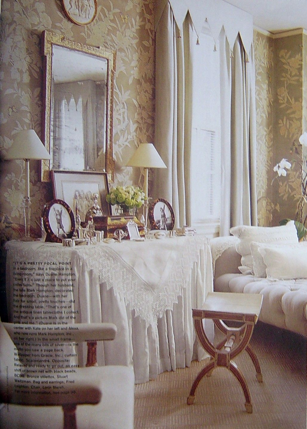 Miss kris studio vanity affair vanity pinterest studios and victoria august 2001 custom gracie handpainted wallpaper for the late mark hampton love the valance and dressing table geotapseo Image collections