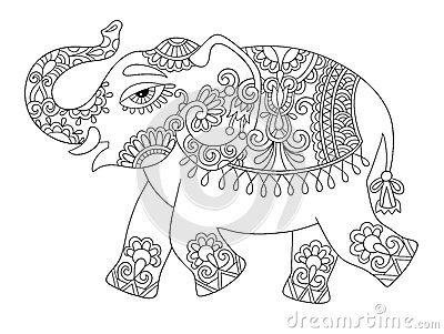Ethnic indian elephant line original drawing, adults coloring bo ...