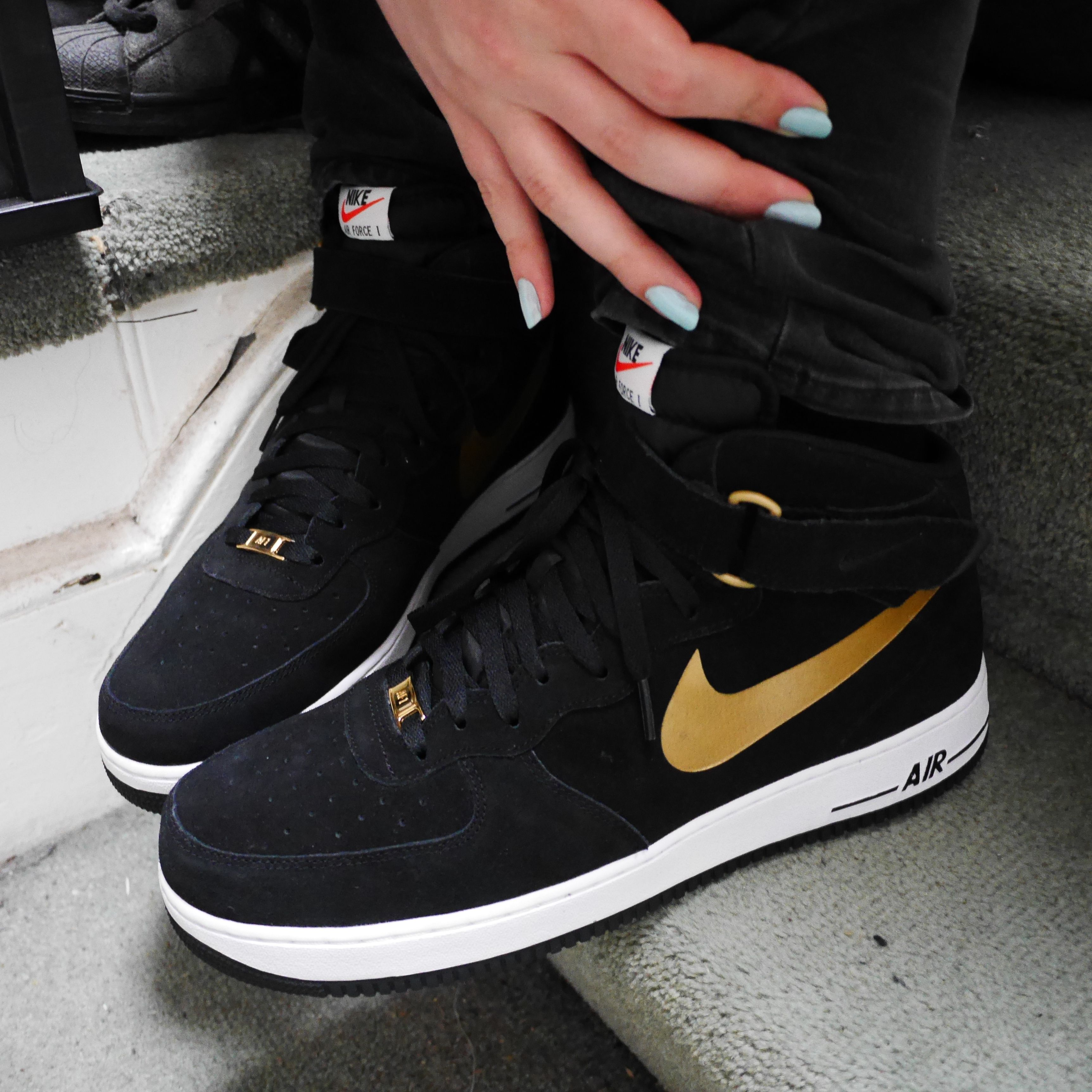 new arrival b4408 41e78 Nike Air Force 1 Mid (Black Suede Metallic Gold)