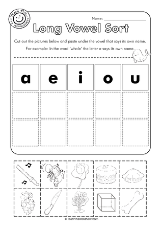 Long Vowel Sort Cut And Paste Could Also Make Beginning Sounds