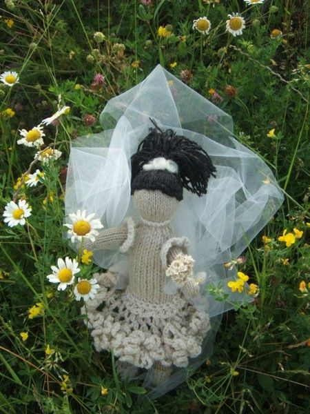 Art Doll Bride Knitted with natural wool