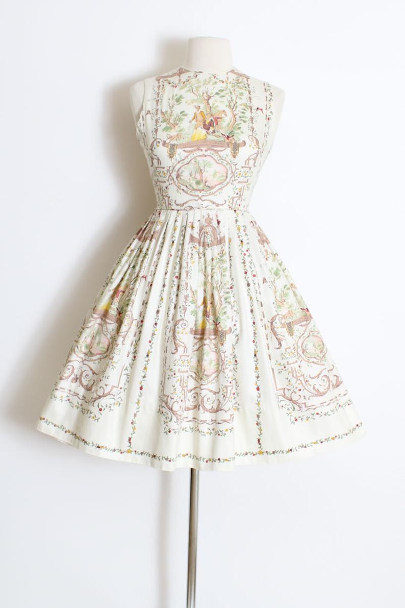 Vintage 1950s 50s Dress Toile Print Open Keyhole Back Cotton Dress Xs Dresses Vintage Dresses 50s 50s Dresses [ 1191 x 794 Pixel ]