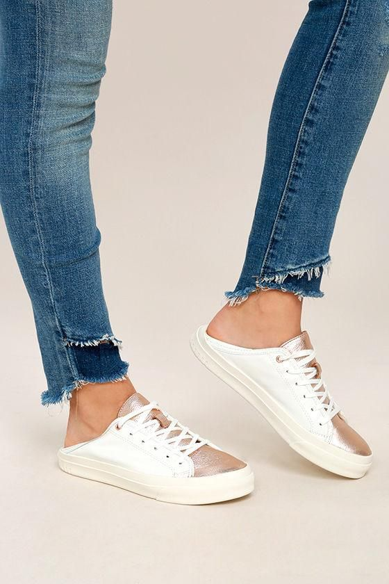 b2e26f12953 The Steven by Steve Madden Vertue White Multi Leather Sneakers will be your  most stylish asset! Metallic rose gold accents these white genuine leather  ...