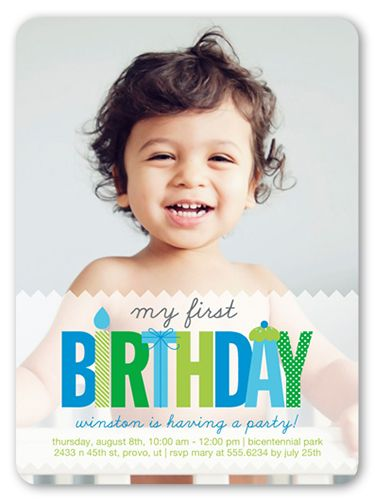 Boys Birthday Invitations: My First, Rounded Corners, Blue ...