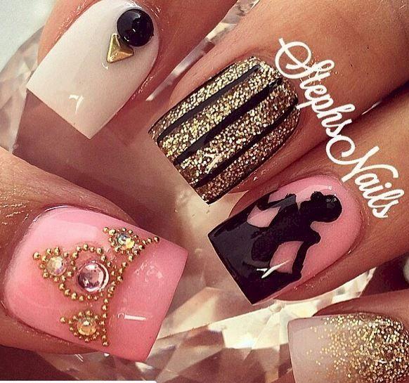 12 Cinderella Disneyland Nails Cinderella Nails Disney Acrylic Nails