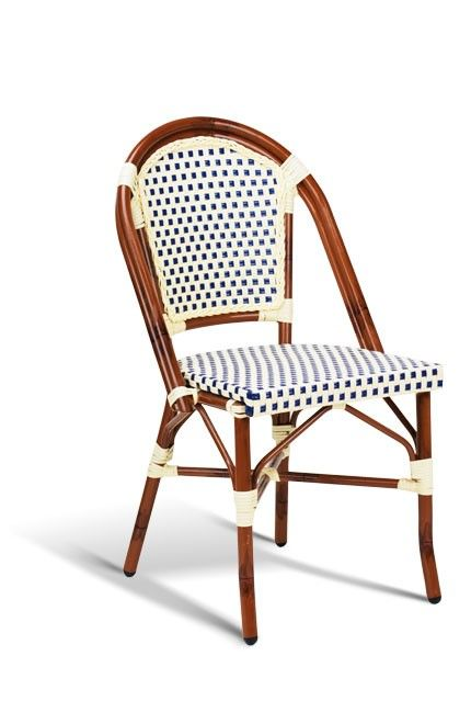 Dark Bamboo Frame With Creme Blue Ice Cream Colors French Bistro Chairs Bistro Chairs Outdoor Patio Furniture Sets