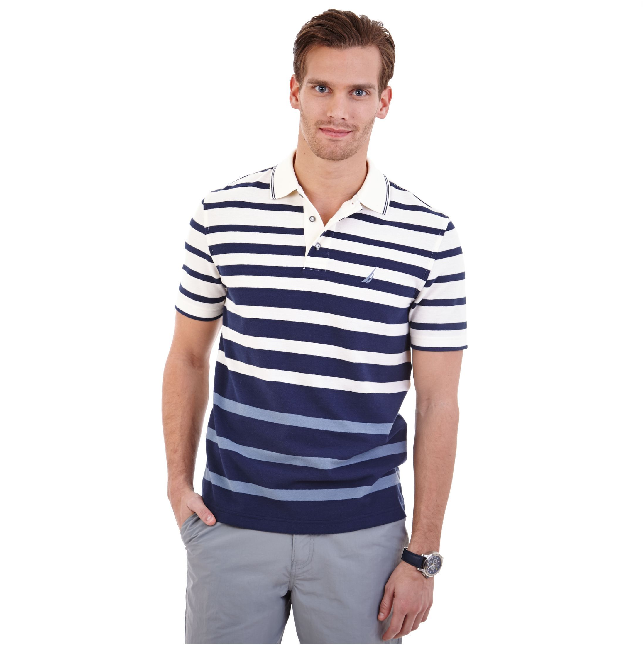 Engineered Stripe Performance Deck Polo Shirt - Nautica
