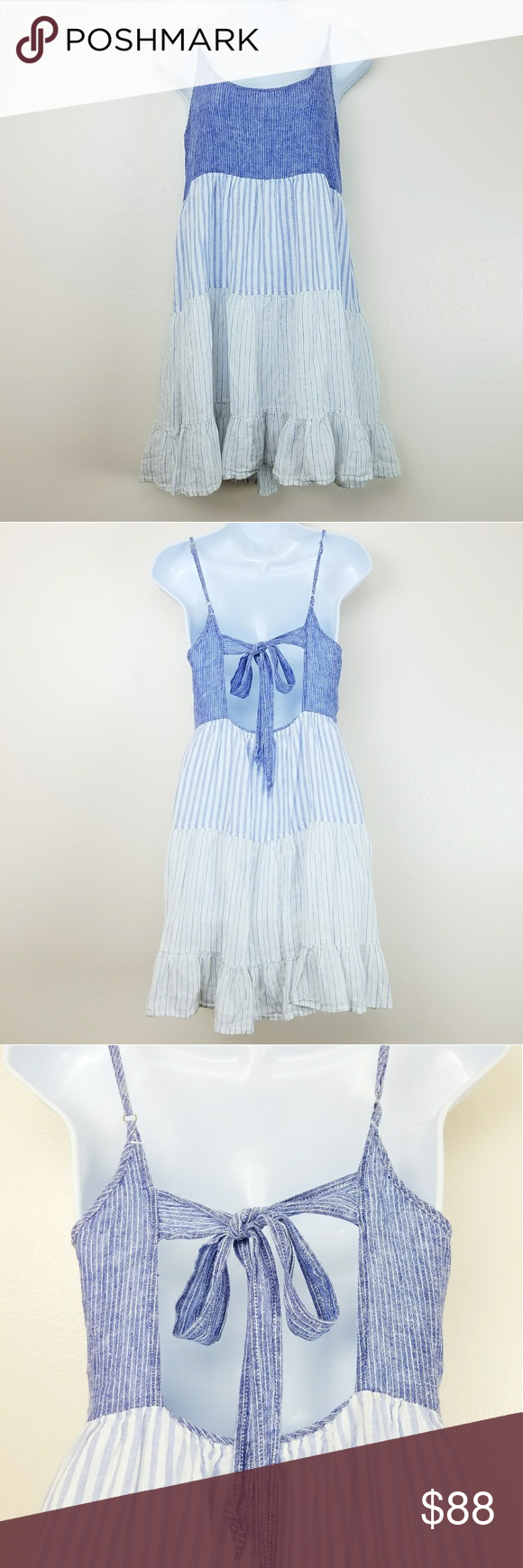 ff78713f35f3 Rails Chambray Amber Trio Stripe Dress Medium Adorable Rails Summer Dress  in tiered chambray Trio Stripe