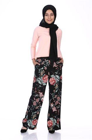 Çiçekli Bol Pantolon 7279 - Siyah