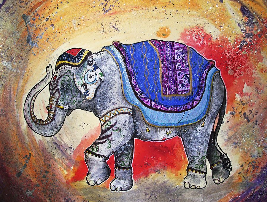Indian Elephant Painting Painted Indian ...