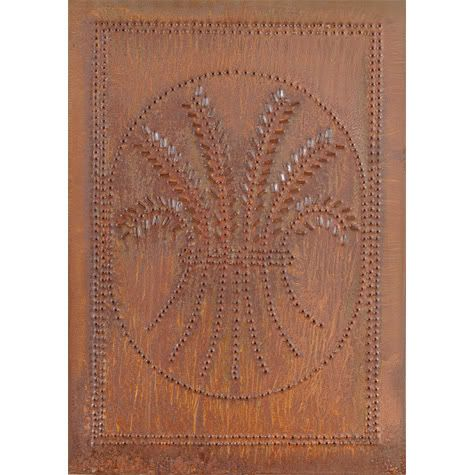 Cabinet Panel Insert Metal Tin Punched Wheat Rustic Pie Safe Country