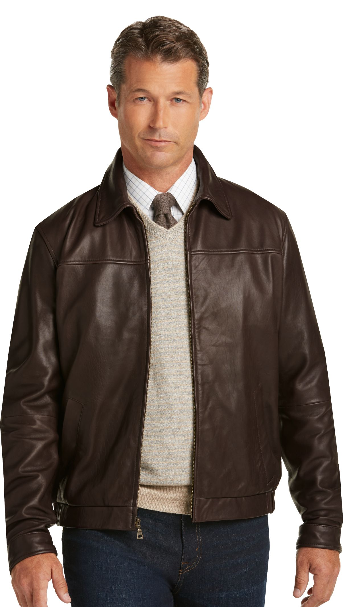 d971c3c65 Signature Collection Traditional Fit Leather Bomber Jacket - Big ...
