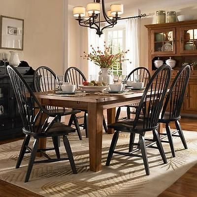 Broyhill Attic Heirlooms 7 Piece Dining Room Set Oak Table W 6 Windsor Contemporary Dining Furniture Round Dining Room Sets Dining Room Furniture Collections