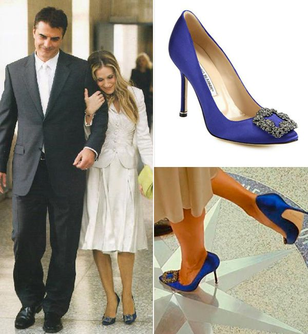 Lydia Bright Does A Carrie Bradshaw In Blue Diamond Manolo Blahnik