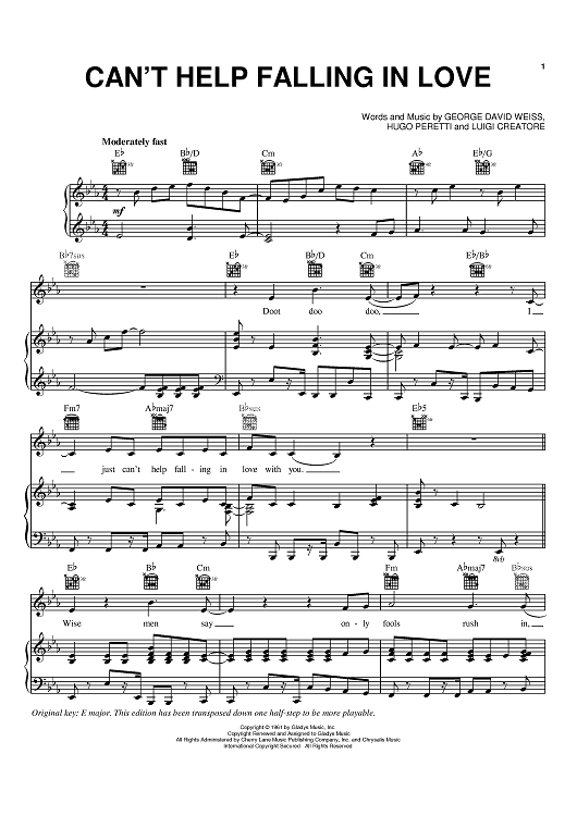 can t help falling in love sheet music Print and download i can't help falling in love (with you) - version by ingrid  michaelson transcribed by aline ellingwood sheet music for.