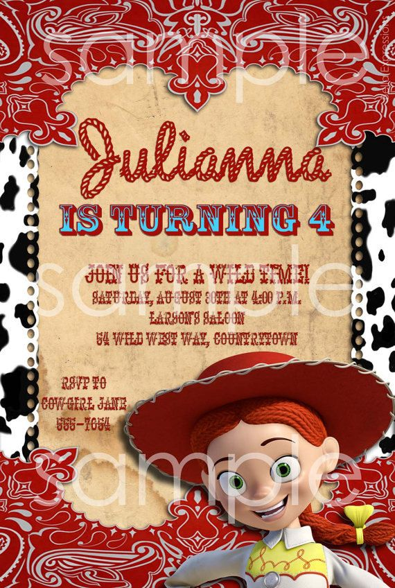 Toy Story Jessie cowgirl, Birthday Party Invitation, red, black ...