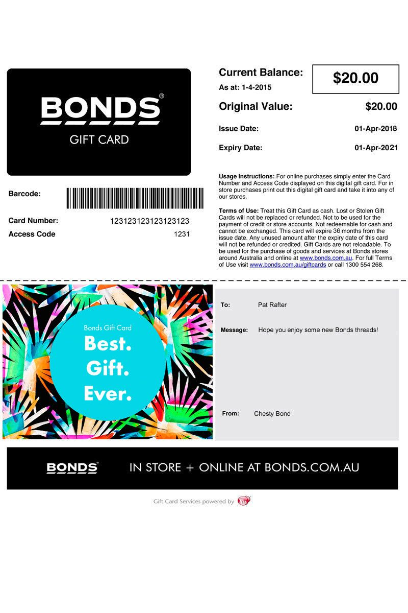 Bonds gift card email gift vouchers from bonds gift