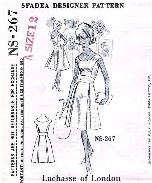 1960s STUNNING Lachasse of London Cocktail Party Dress Pattern SPADEA 267  Bust 35 Vintage Sewing Pattern