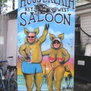 """The Hogs Breath Saloon, where """"Hogs Breath is Better than no breath at all."""""""
