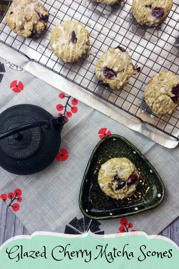 Glazed Cherry Matcha Scones - With just a touch of #matcha and the #cherries reminiscent of the beautiful cherry blossoms, these Glazed Cherry Matcha #Scones are a true nod to #Japanese culture. Enjoy them with a lovely cup of green tea. #ISW2017