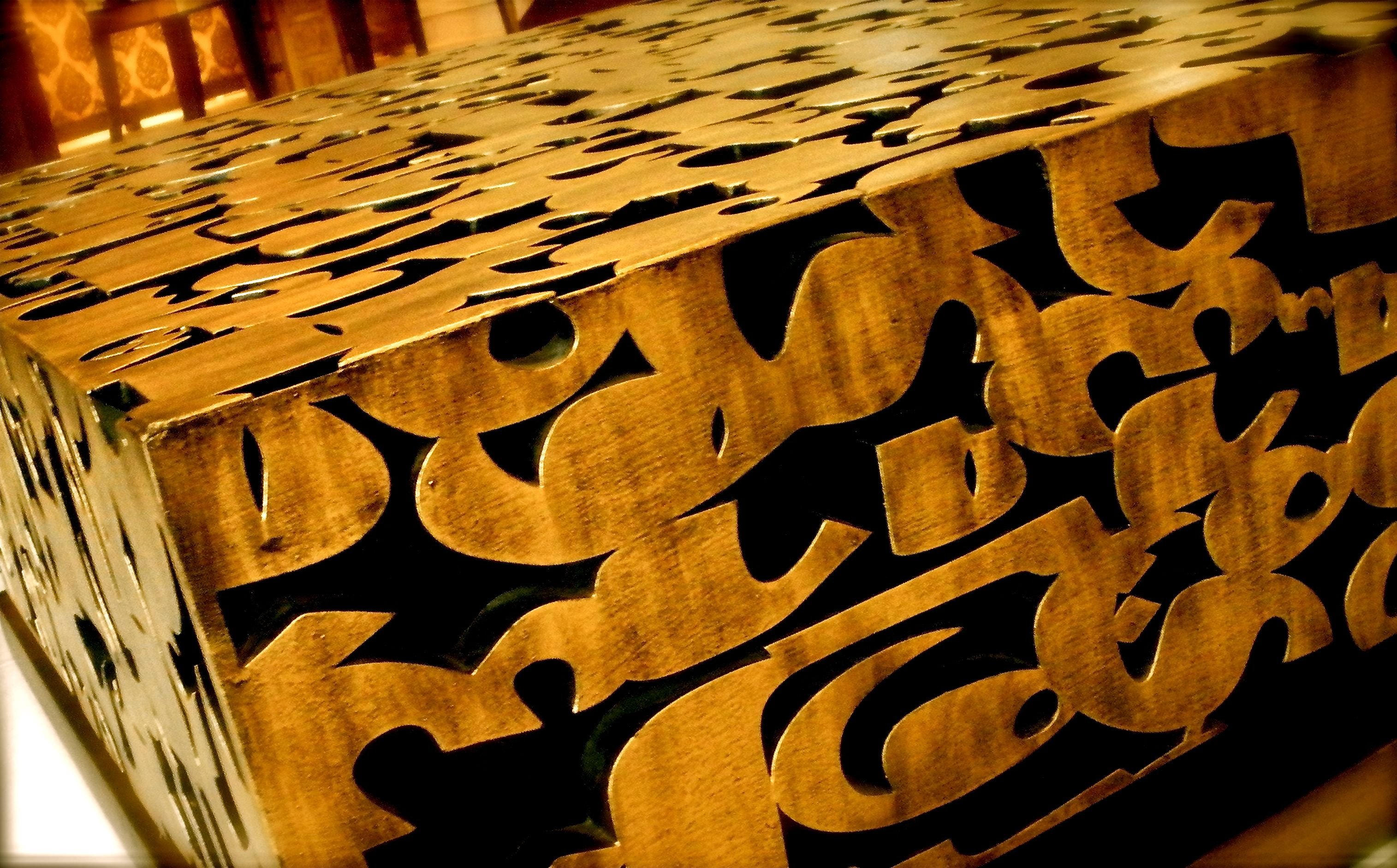 Hand carved arabic Calligraphy table by Kalamkaar