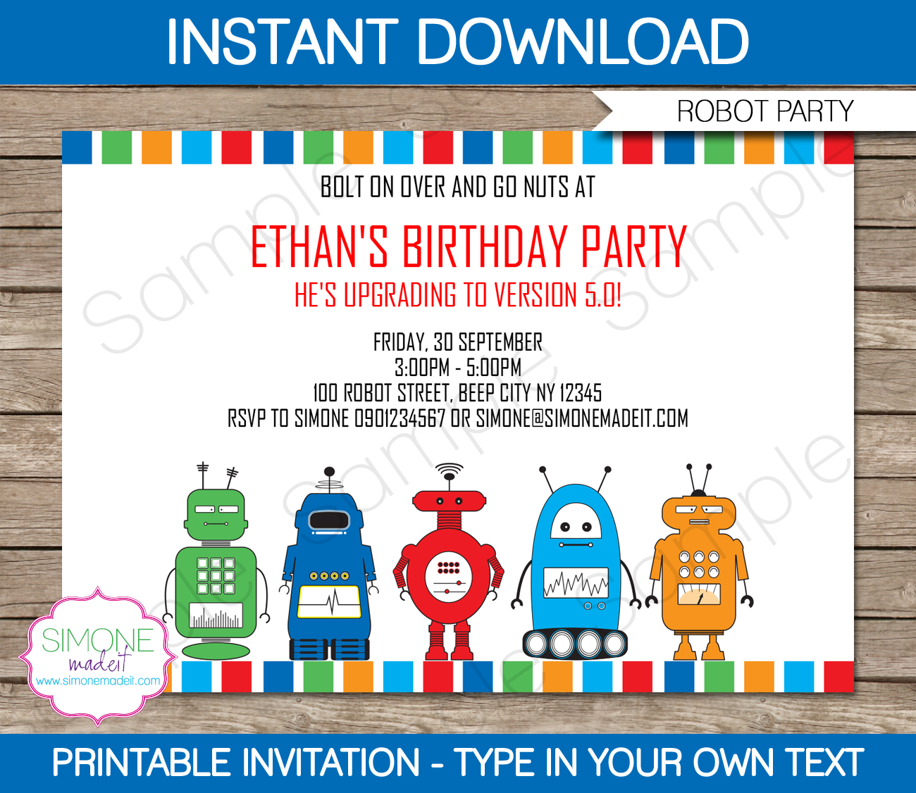 Robot Party Invitations Template | Party invitations, Birthdays and ...