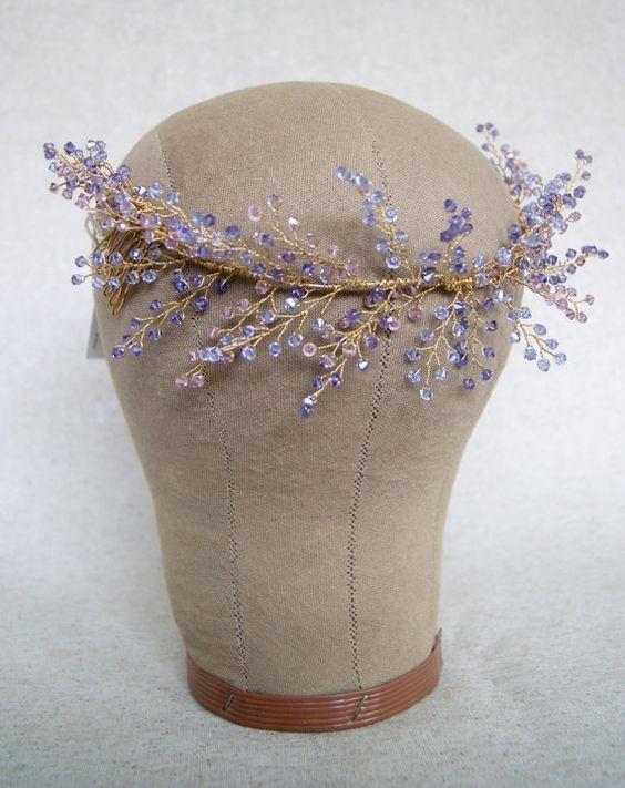 Crystal Headpiece Lavender Flower Crystal от MelindaRoseDesign: