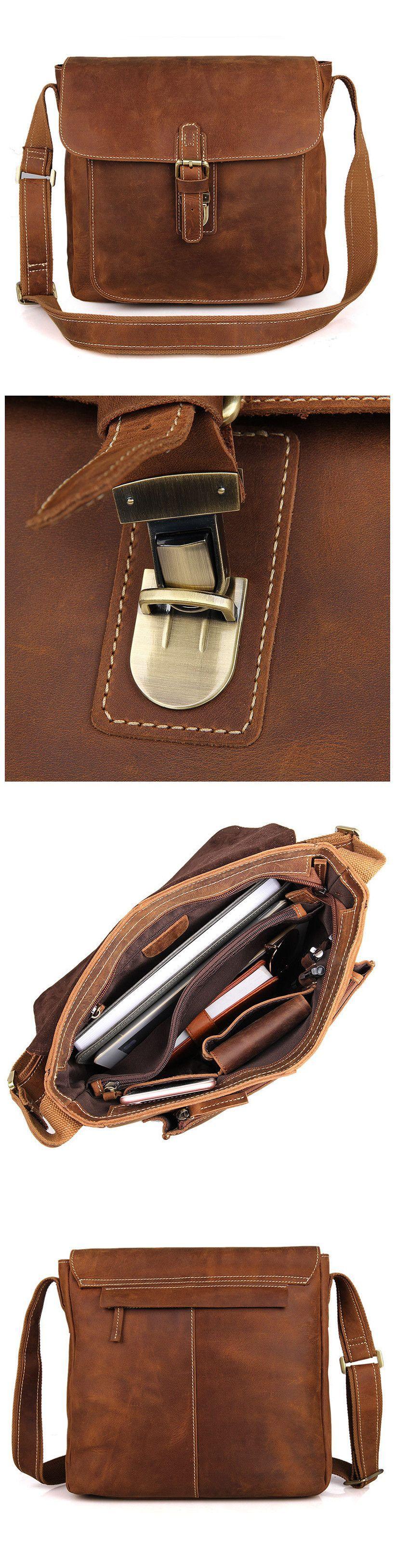 380dee598bce Handmade Crazy Horse Leather Messenger Bags Men s Vintage Shoulder Bags  Cross Body Bag