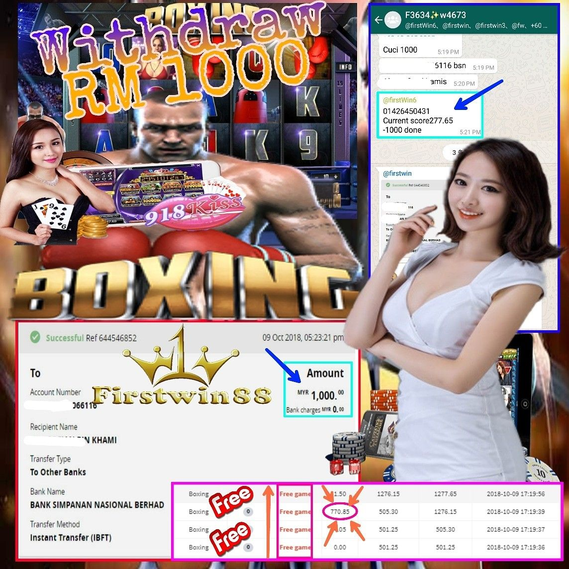Congratulations to #Firstwin88#918kiss MemberF3634 SlotGame#Boxing Won PriceRM1000 #FreeGame #BigWin️ 🇲🇾#malaysia🇲🇾 wechat️firstwin88 whatsapp️ #918kiss #OnlineCasinoMalaysia…