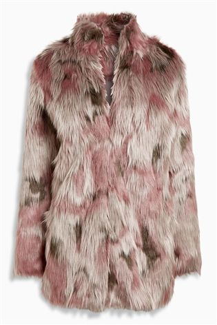 76cd43dea7 Buy Pink Patched Faux Fur Jacket from the Next UK online shop ...
