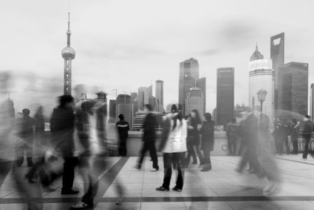 'People walking along the Bund with Pudong river and skyline in background.', art print by Lonely Planet Images  on artflakes.com